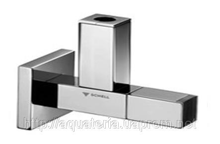 SCHELL DESIGN-QUAD вентиль 1/2» х 3/8», хром з вставками з дерева